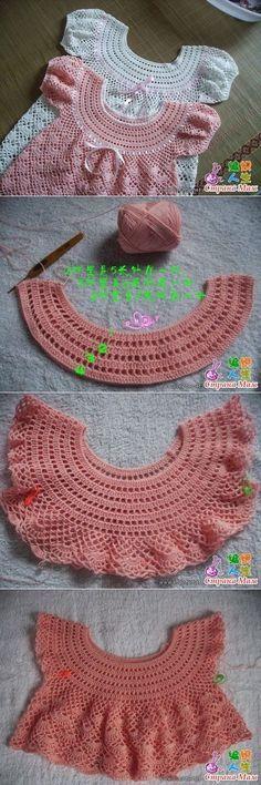 Vestidinho de crochê infantil com pala redonda _ PAP