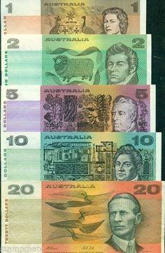 AUSTRALIA 5 PAPERMONEY DECIMAL NOTES $1 $2 $5 $10 $20