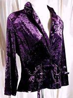 Women's Size S STAR CITY Blazer VELVET Purple Pockets Satin Bows MAKE OFFER