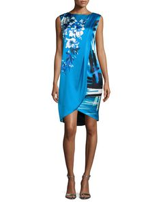 B36LE St. John Collection Brushstroke & Hibiscus-Print Draped Dress, Cyan/Multi