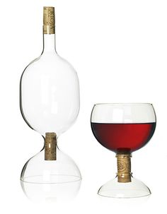 Corked decanter and glass