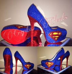 HALLOWEEN SPECIAL Superman super woman high heel by CrystalCleatss