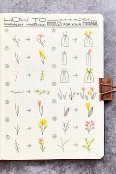 Want to add some cute little flower doodles to your bullet journal and need some ideas to get started? Check out these awesome step by step guides for inspiration! journal inspiration 17 Amazing Step By Step Flower Doodles For Bujo Addicts - Crazy Laura Bullet Journal Banner, Bullet Journal Notebook, Bullet Journal Ideas Pages, Art Journal Pages, Journal Prompts, Daily Journal, Bullet Journal Writing Styles, Bullet Journal Ideas How To Start A, Bullet Journal Inspiration Creative