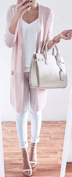 #spring #outfits Pink Cardigan & White Top & White Skinny Jeans