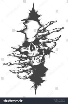 Der menschliche Schädel durchquert das Loch Stock-Vektorgrafik (Lizenzfrei) 1149255473 Human Skull peeping Through Hole drawn in tattoo style. Tattoo Platzierung, Tattoo Style, Tattoo Drawings, Art Drawings, Cool Skull Drawings, Yakuza Tattoo, Skull Tattoo Flowers, Skull Tattoos, Hand Tattoos