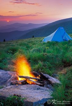 Campsite at sunrise on Round Bald of the Roan Mountain Highlands in Pisgah National Forest, North Carolina. Wilderness Campsites.