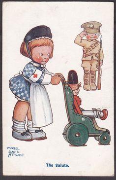 WW1 Mabel Lucie Attwell - The salute rrd cross nurse card