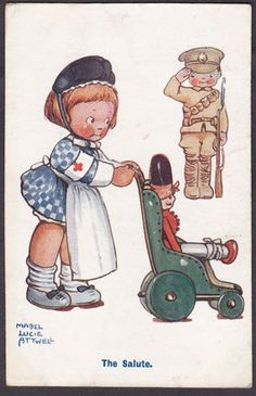 WW1 Mabel Lucie Attwell - The salute rrd cross nurse card