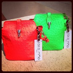 Leather IT bag of the season - the 'riko' bag by coco riko in fab neon bright colours! Bright Colours, Hermes Birkin, Ibiza, Neon, Leather, Bags, Style, Light Colors, Handbags