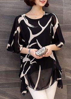 Black and White Printed Chiffon Tunic Top