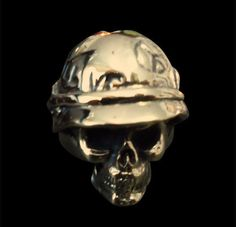 Bronze Ghost of the Vietnam Vets War Skull Ring - Custom Size - Free Shipping #Handmade #StatementVietnamVets