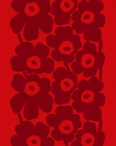 The heavyweight printed cotton fabric features the red and dark red Unikko pattern. This cotton fabric can be made into curtains, a tablecloth and much more.Marimekko's famous poppy pattern Unikko was born in 1964 in a tim Floral Fabric, Linen Fabric, Cotton Fabric, Floral Prints, Flower Vase Making, Marimekko Fabric, Poppy Pattern, Small Flowers, Textile Design