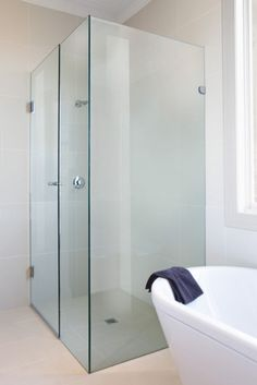 Frameless Shower Screen completes this Luxurious Bathroom. Shower Screen Cleaner, Clean Shower Screen, Shower Cleaner, Shower Screens, Fiberglass Shower Enclosures, Best Cleaner, Glass Balustrade, Frameless Shower, Glass Texture