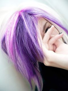 Really awesome purple and blonde hair. I would probably want a lot more blonde than purple though. I'm afraid, haha.