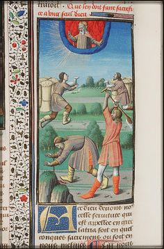 Cain slays Abel with a spade, The City of God (MMW 10 A 11, fol. 430v), c. 1475-1480