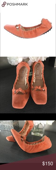 Authentic Tods ballet flats. Authentic Tods orange suede square toed ballet flats. They fold up for convenience. Size mark not present but they are my mom's and she wears a size 8. I wear a 9 and my foot goes in them but they are far too tight. Worn a few times but in overall great condition! No trades. Retail $425. Tod's Shoes