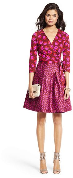 Diane von Furstenberg Jewel Silk Combo Pleated Wrap Dress on shopstyle.com