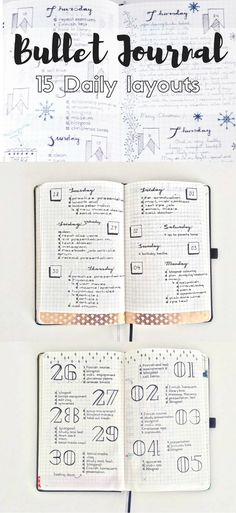 Creative Organization: 15 Different Simple Daily layouts for the Bullet Journal. Simple planner page inspiration. Weekly bujo spreads that are easy to copy. Bullet Journal Agenda, How To Bullet Journal, Bullet Journal Inspo, Bullet Journal Spread, My Journal, Journal Pages, Bullet Journal Daily Log Ideas, Journal Diary, Bullet Journal Assignment Tracker