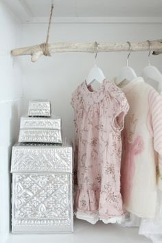 Adorable Closet in a baby girl's bedroom - Hanging branch rod