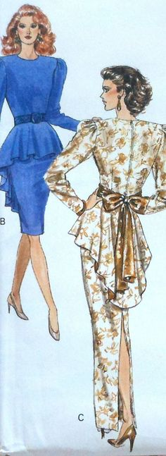 Retro 80s Peplum Dress and Gown Sewing Pattern