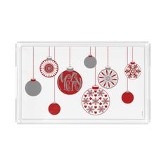 Merry Ornament Holiday Acrylic Serving Tray Large Acrylic Tray - diy cyo customize personalize design