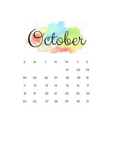 This is a 2020 october calendar you can set as your wallpaper to your phone. Simple Wallpapers, Pretty Wallpapers, Watercolor Wallpaper, Floral Watercolor, October Calender, Paint Splash Background, Create Your Own Calendar, Calendar Wallpaper, Calendar Design