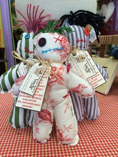 """Voodoo Doll, Cloth doll, Humorous Primitive Doll, Hand Stitched Doll, White Magic, Handmade Fabric Hex Doll, 9 1/2"""" Rag Doll, Worry Doll"""