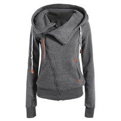 Casual Style Solid Color Long Sleeves Women's Hoodie, DEEP GRAY, M in Sweatshirts & Hoodies | DressLily.com