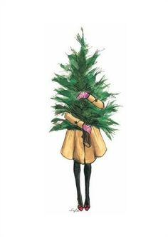 Christmas card idea - girl carrying Christmas tree