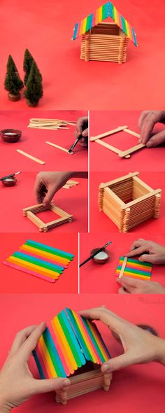 45 Easy and Creative DIY Popsicle Stick Crafts Ideas - HERCOTTAGE Can you stop your inner child from hopping out? Then satisfy your hunger for craft with these Easy and Creative DIY Popsicle Stick Crafts Ideas. Popsicle Stick Bracelets, Popsicle Stick Houses, Popsicle Stick Crafts For Kids, Craft Stick Crafts, Wood Crafts, Kids Crafts, Projects For Kids, Diy For Kids, Diy And Crafts