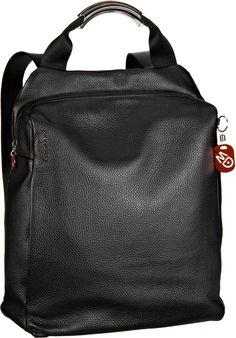 Hochwertig verarbeiteter Tabletrucksack von Mandarina Duck mit Fach für Tablets bis 21x31x5 cm und textilen Tragegurten. Aus weichem Rindleder. Maße: 35x40x11 cm.