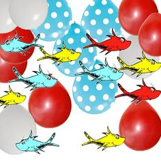 Dr Seuss Party Decorations: 36 Fish 12 Red 12 White 6 Blue w White Dot Latex Balloons Dr Seuss Party Ideas, Dr Seuss Birthday Party, Birthday Party Favors, 1st Birthday Parties, Boy Birthday, Birthday Ideas, Happy Birthday, Themed Parties, Dr Suess Baby