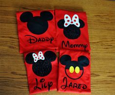Custom Disney Family Matching Shirts, Mickey Mouse Minnie Mouse Inspired with Glitter option Available Personalized by GlitterTee on Etsy https://www.etsy.com/listing/179011747/custom-disney-family-matching-shirts
