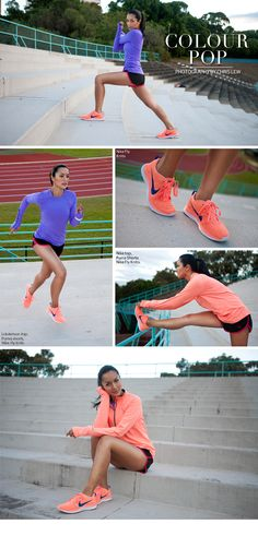 Apricot long-sleeved running top: Nike (Peach colour), Apricot runners: Nike Fly Knits (Peach colour), Purple long-sleeved top: Lululemon (Online and instore), Black shorts with red piping: Puma,