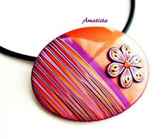 Colgante flor lila-naranja | by el rincón de amatista
