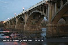The Gervais Street Bridge connects West Columbia and Cayce with downtown Columbia by spanning the Congaree River. Columbia South Carolina, Lexington South Carolina, West Columbia, Columbia City, University Of South Carolina, Over The Bridge, Hotel Motel, Oceans Of The World, Beautiful Beaches