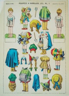 Vintage Uncut French Paper Doll Plates