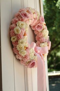 Pink and White Rose Wreath with Cherries Wreaths And Garlands, Holiday Wreaths, Floral Wreaths, Wedding Wreaths, Wedding Bouquets, Wedding Decor, Wedding Ideas, Rose Crafts, Summer Wreath