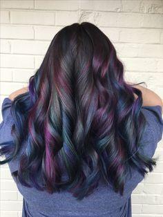 Oil slick hair by @hairwaytokale
