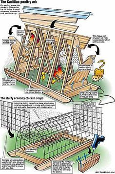 **I wonder if the bottom illistration could be made from PVC pipe?** The City Chicken Chicken Tractor Gallery compiled by Katy Easy Chicken Coop, Chicken Coop Designs, Backyard Chicken Coops, Chicken Coop Plans, Building A Chicken Coop, Chickens Backyard, Clean Chicken, Chicken Feeders, A Frame Chicken Coop