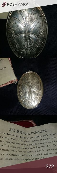 "Towle Sterling Silver Vintage Butterfly Pendant Awesome piece that measures over 3"" tall. Signed Towle Sterling towle sterling Jewelry Necklaces"