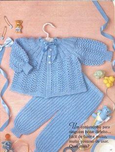 Receitas de trico fáceis de fazer e com passo a passo e video explicativo Baby Cardigan Knitting Pattern Free, Baby Boy Knitting Patterns, Crochet Baby Cardigan, Knit Baby Sweaters, Baby Patterns, Knit Patterns, Knit Crochet, Knitted Baby Outfits, Knitting Dolls Clothes
