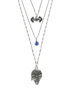 Star Wars Millennium Falcon TIE Fighter Long Layered Necklace,