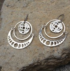 Moonscape Hoop Earrings with Talisman Amulet and by MarcyKentz, $90.00