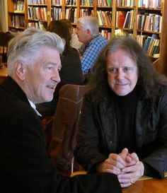 Werner Elmker photo.  Film maker David Lynch and musician Donovan have coffee at Revelations Cafe In Fairfield, Iowa
