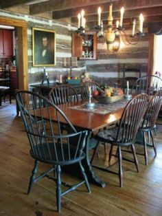 Making a log cabin formal, with Colonial decor. Primitive Dining Rooms, Primitive Homes, Primitive Kitchen, Primitive Decor, Country Primitive, Country Sampler, Primitive Furniture, Antique Furniture, Prim Decor