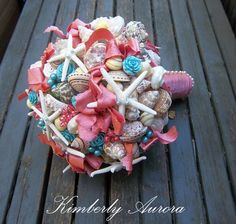 Beach Wedding Seashell Bouquet for Brides by romanticflowers