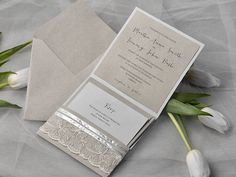 Eco Lace Wedding Invitation, Pocket Fold  Invitations , Vintage Wedding invitation, Rustic Wedding Invitation,