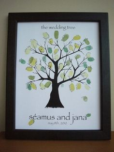 Wedding Tree Guestbook by angelia E ~ I like this one....They could thumb print and then sign their name....
