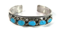 Vintage Navajo 5 Stone Turquoise Feather Cuff Bracelet Robert Lincoln Sterling 7 Inches